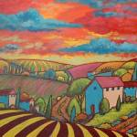 """""""Pink Roofs And Red Sky Fauve"""" by theartlady"""