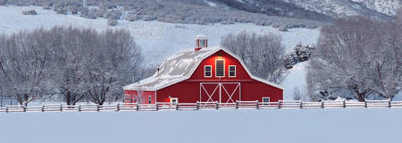 Winter Barn Panorama 1