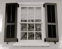 Window with Black Shutters Black and White
