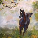 """Running in Joy Square from Oil Painting by Ginette"" by GinetteCallaway"