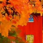 """Impression: Red Barn in Autumn"" by noelzialee"