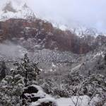 """Zion Snowy Mountain1"" by anniepics"