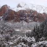 """Zion Snowy Mountain2"" by anniepics"