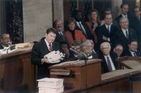 Ronald Reagan presenting need for balanced budget, by WorldWide Archive