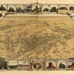 """1901 Fresno, CA Birds Eye View Panoramic Map"" by PaperTimeMachine"