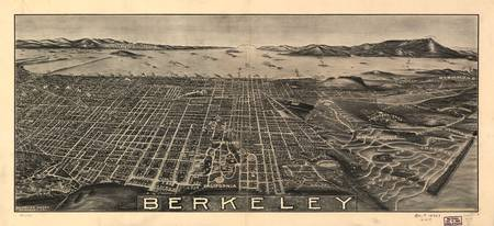1909 Berkeley, CA Birds Eye View Panoramic Map