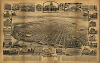 1890's Sacramento, CA Bird's Eye View Panoramic Ma