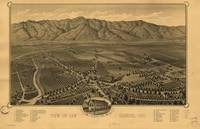 1893 San Gabriel, CA Bird's Eye View Panoramic Map