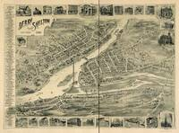1898 Derby & Shelton, CT Bird's Eye View Panoramic