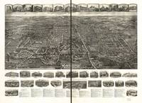 1914 Manchester, CT Bird's Eye View Panoramic Map