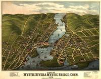1879 Mystic River & Bridge, CT Bird's Eye View Pan