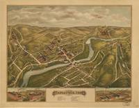 1877 Naugatuck, CT Bird's Eye View Panoramic Map