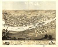 1868 Cedar Rapids, IA Bird's Eye View Panoramic Ma