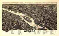 1882 Aurora, IL Bird's Eye View Panoramic Map