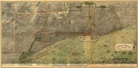 1893 Chicago, IL Bird's Eye View Panoramic Map