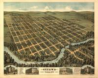1872 Ottawa, KS Bird's Eye View Panoramic Map