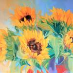 """Stunning Sunflowers Oil Painting"" by Ezartesa"