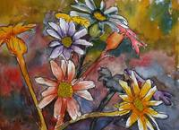 abstract daisy flowers painting