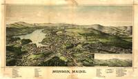1889 Monson, ME Bird's Eye View Panoramic Map