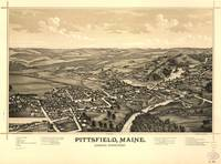 1889 Pittsfield, ME Bird's Eye View Panoramic Map