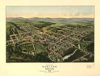 1906 Oakland, MD Bird's Eye View Panoramic Map