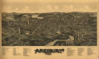 1890 Amesbury, MA Bird's Eye View Panoramic Map