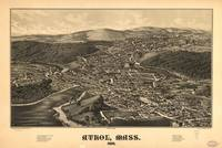 1887 Athol, MA Bird's Eye View Panoramic Map
