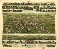 1891 Barre, MA Bird's Eye View Panoramic Map