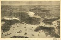 1870's Boston, MA Birds Eye View Panoramic Map