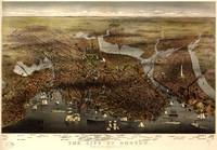 1873 Boston, MA Bird's Eye View Panoramic Map