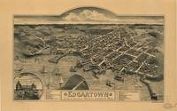 1886 Edgartown, MA Birds Eye View Panoramic Map