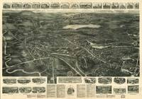 1918 Canton, MA Birds Eye View Panoramic Map