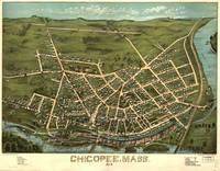 1878 Chicopee, MA Birds Eye View Panoramic Map