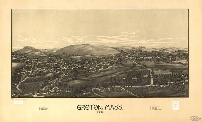 Birds Eye View Artwork 1886 Groton ma Birds Eye View