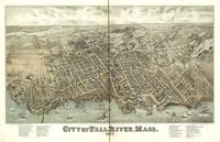 1877 Fall River, MA Birds Eye View Panoramic Map