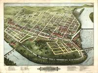 1877 Holyoke, MA Birds Eye View Panoramic Map