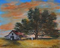 WORK DAY  OAK TREES CHICKENS FARM KIP HAYES ART