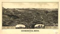 1886 Leominster, MA Birds Eye View Panoramic Map