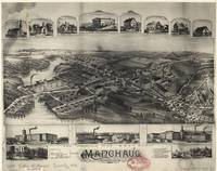 1891 Manchaug, MA Birds Eye View Panoramic Map