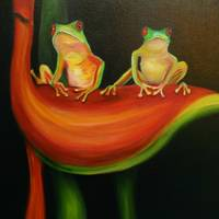 Red eyed tree frogs on big red haliconia