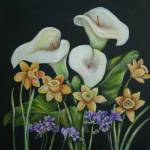 """Calla Lillies, daffodills and purple Irises"" by artistamy"