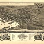 """1881 Nantucket, MA Birds Eye View Panoramic Map"" by PaperTimeMachine"