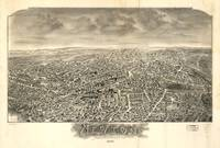 1897 Newton, MA Birds Eye View Panoramic Map