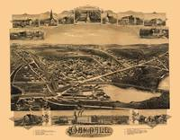 1891 Oakdale, MA Birds Eye View Panoramic Map