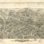 """1877 Peabody, MA Birds Eye View Panoramic Map"" by PaperTimeMachine"