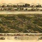 """1891 Norton, MA Birds Eye View Panoramic Map"" by PaperTimeMachine"