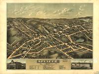 1877 Spencer, MA Birds Eye View Panoramic Map