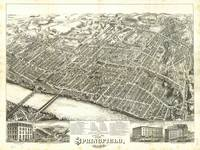 1875 Springfield, MA Birds Eye View Panoramic Map