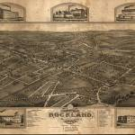 """1881 Rockland, MA Birds Eye View Panoramic Map"" by PaperTimeMachine"