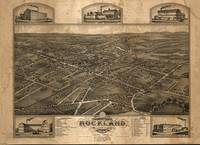 1881 Rockland, MA Birds Eye View Panoramic Map